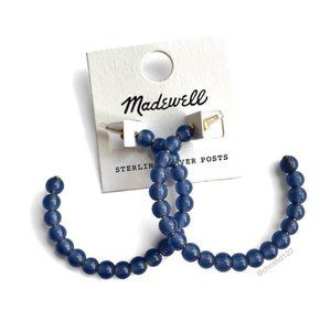Madewell Acrylic Ball Hoop Earrings Blue NWT